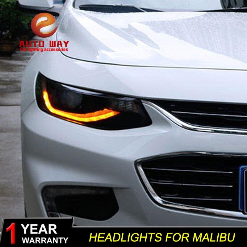 Автомобиль голове стиль лампы для Chevrolet Malibu 2017 2018 фары светодио дный фара Malibu DRL Объектив Двойной Луч Биксеноновая HID
