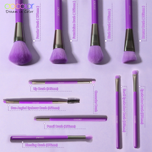 Image 3 - Docolor 10Pcs Purple Makeup Brushes Synthetic Hair Professional Powder Foundation blush eye Blending Contour Make up Brushes set
