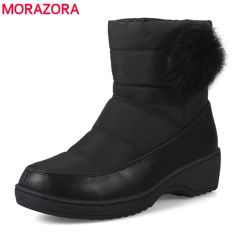 MORAZORA SIZE 35-44 New Fashion snow boots keep warm round toe ankle boots for women mid heel winter boots women shoes new arrival superstar genuine leather chelsea boots women round toe solid thick heel runway model nude zipper mid calf boots l63