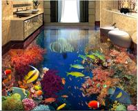 3d pvc flooring custom mural Self adhesive waterproof floor The fish in the coral painting picture photo wallpaper for walls 3d