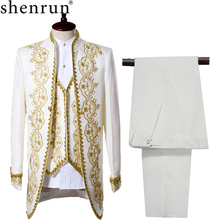 SHENRUN  wedding suits for men black dress dinner mens with pants England Style Costume off-white singer suit