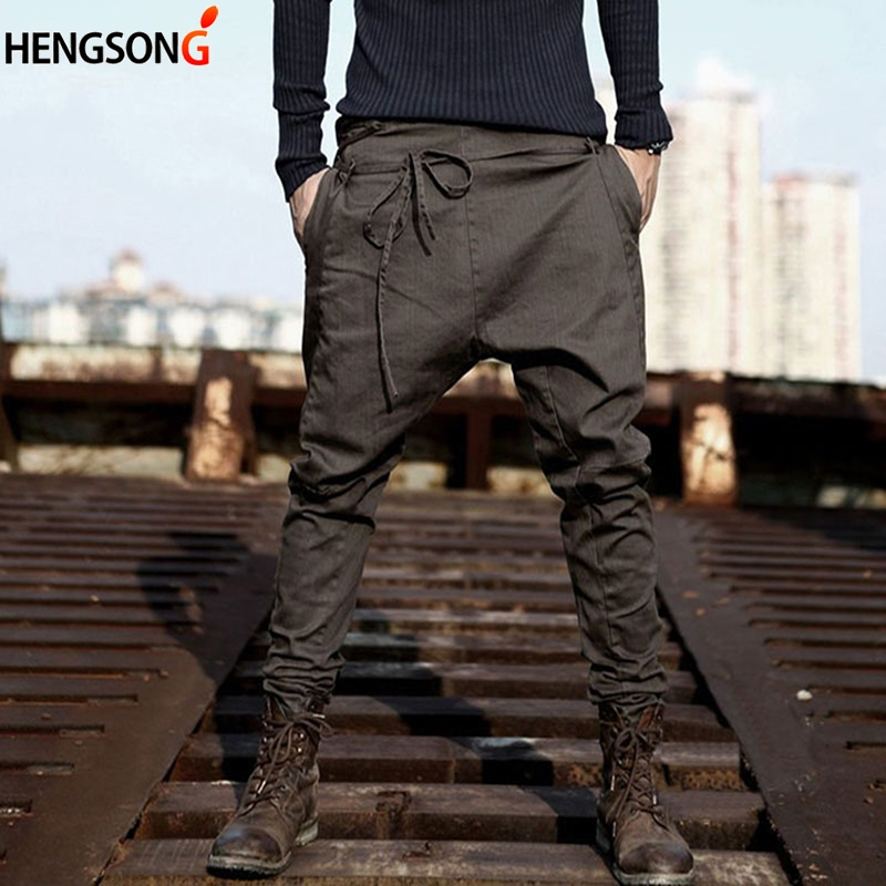 Autumn Spring Loose Casual Pants Trousers Cotton Blend Long Pants Drawstring Sashes Male Pant New Casual Men Harem Pants