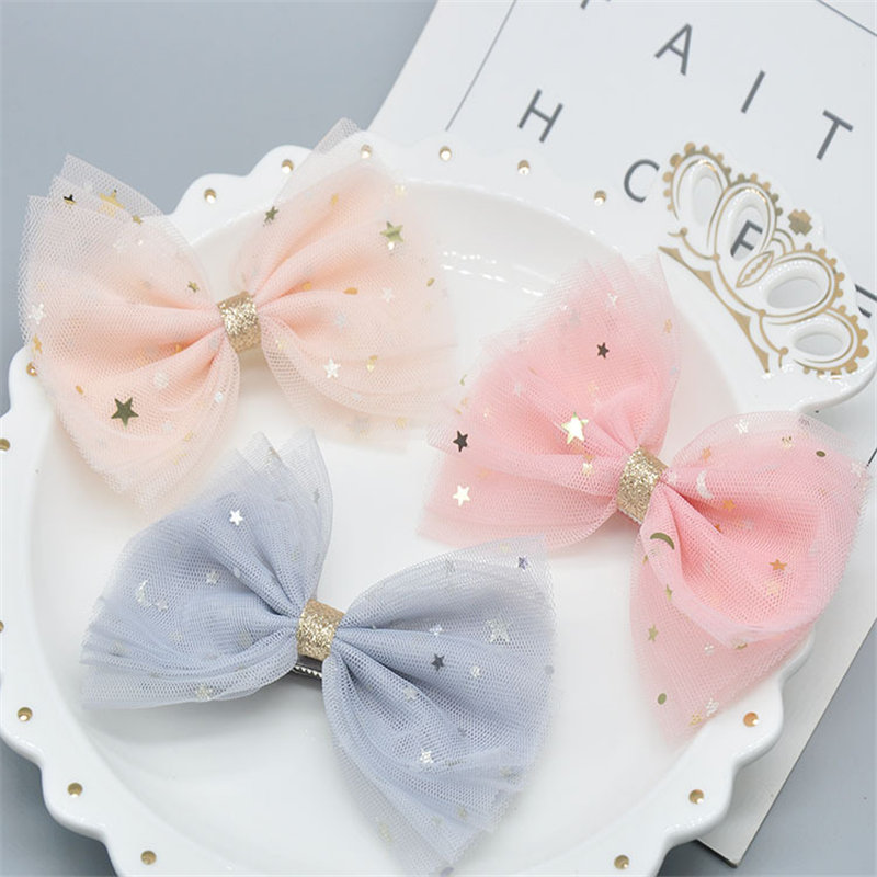 1Pcs Kids Girls Big Solid Ribbon Glitter Bow Clips With Bling Stars Hairpins Boutique Hair Clips Hair Accessories