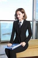 Formal 4 Piece Jackets + Pants + Vest & Waistcoat + Blouses With Tie Uniform Designs Blazers For Ladies Pantsuits Pants Suits