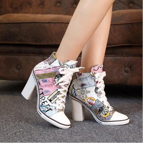 Printing Leather Women Shoes High Heel Fashion Printed High Heels Casual Straps High-Top Shoes Woman Lace Up Prom Women Pumps