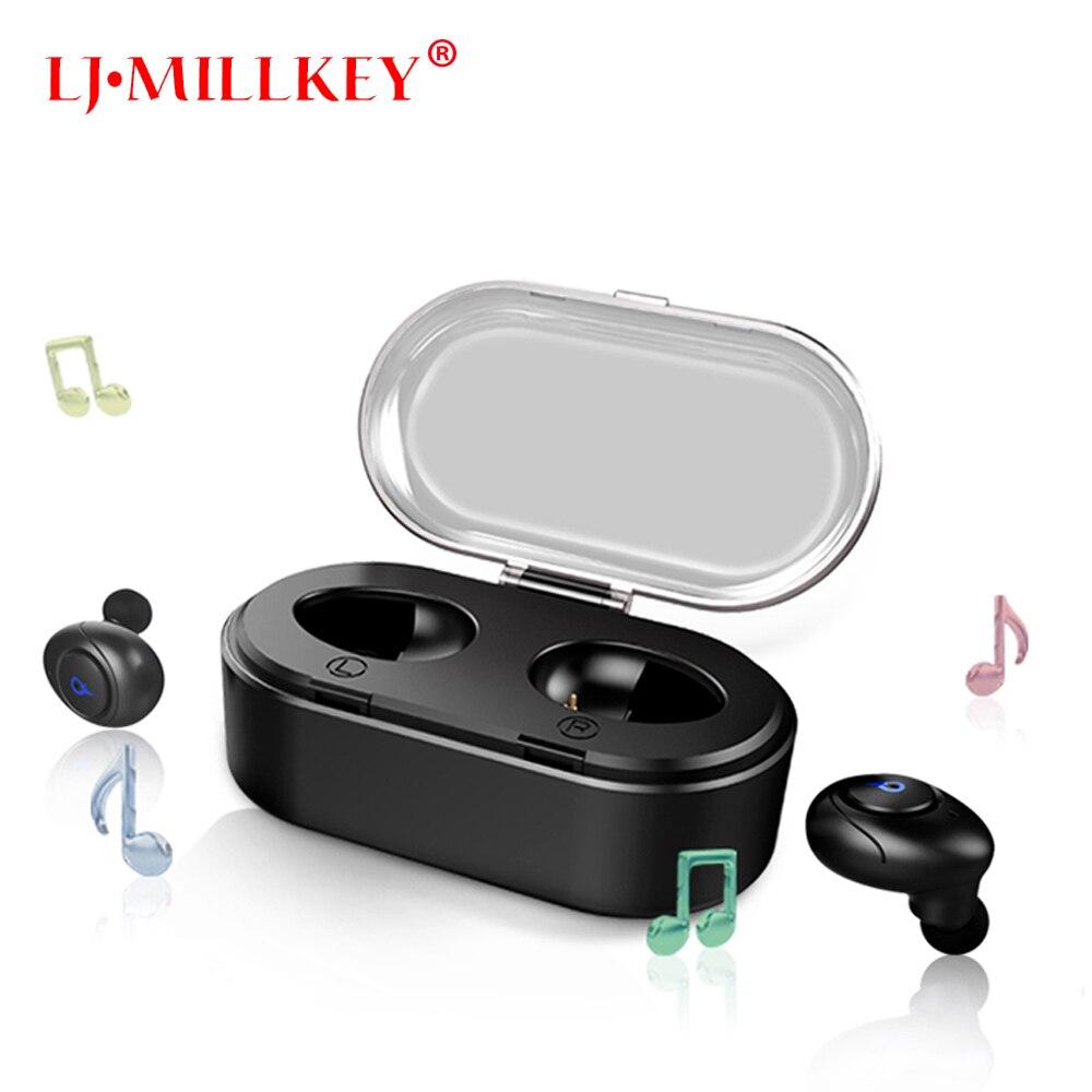 TWS Binaural Mini Portable Twins Bluetooth Stereo wireless earphones built-in Mic earbuds with Battery LJ-MILLKEY YZ143 in ear stereo tws wireless earphones newest twins true wireless earbuds mini bluetooth with charging case lj millkey yz118