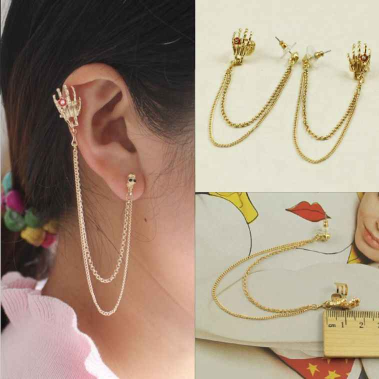 fashion popular personality punk skull ghost hand ear cuff gold color metal clip earrings tassel chains earrings for women E267
