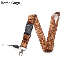 Homegaga leopard print keychain lanyard webbing ribbon neck strap fabric para id badge phone holders necklace accessories D1160
