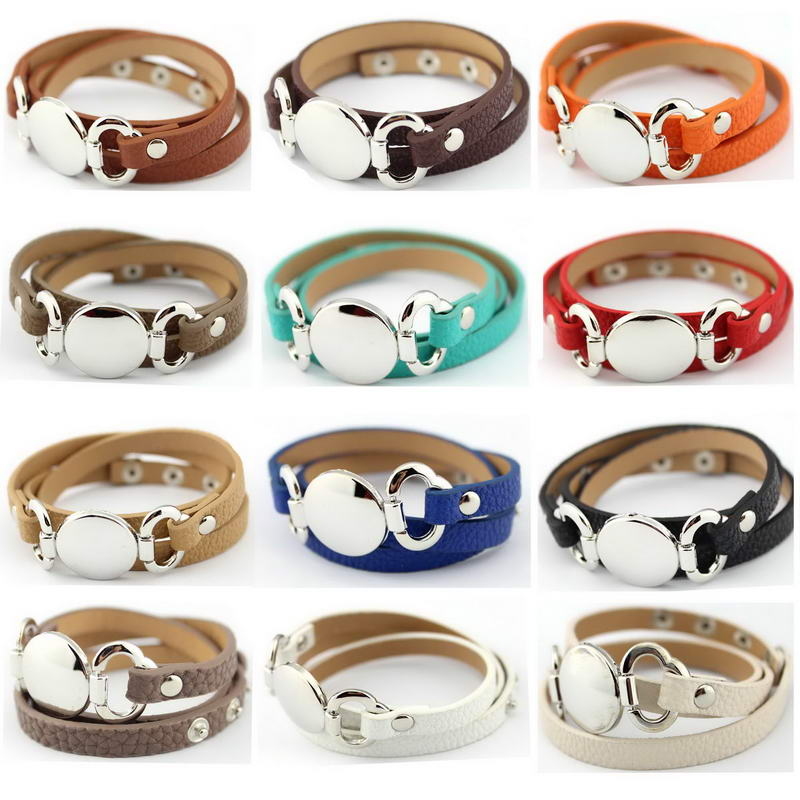 13 Colors Option Leather Wrap Monogram Bracelet  Blank Disc Charm - Fashion Jewelry - Photo 2