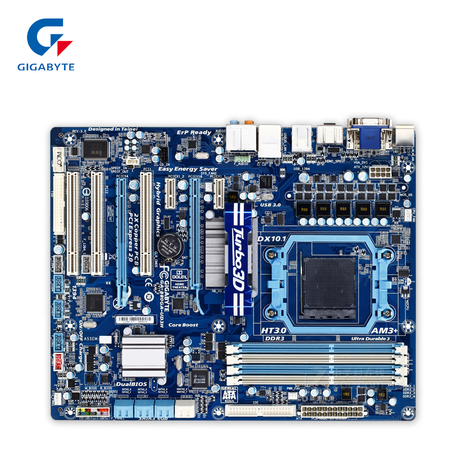 Gigabyte GA-880GA-UD3H Original Used Desktop Motherboard 880GA-UD3H 880G Socket AM3+ DDR3 SATA3 USB3.0 ATX gigabyte ga ma770 es3 original used desktop motherboard amd 770 socket am3 ddr2 sata2 usb2 0 atx
