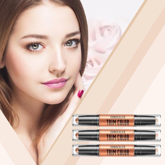 Maquillaje facial corrector pluma Multi efecto doble cabezal 3D bronceador resaltador palo textura contorno lápiz base TSLM1