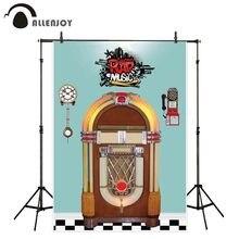 Allenjoy Fondo de fotografía de Jukebox Rock N Roll, Fondo de música retro, utilería para sesión fotográfica, estudio, tela personalizada