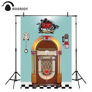 Image 1 - Allenjoy Jukebox photography backdrop Rock N Roll retro music background photocall photo shoot prop studio custom fabric