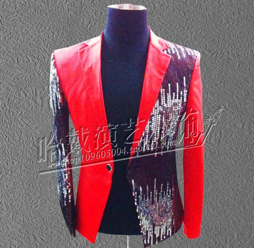 More Colors ! Men singer red black blue purple sequins suit jacket formal dress The host dress costumes !