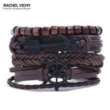 Venta al por mayor brazalete trenzado y brazaletes joyería para hombres pulsera de ancla de cuero multicapa pirata joyería Vintage para hombres TZ126