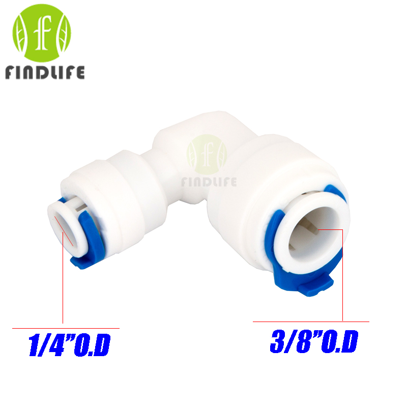 Water Filter Parts 5pcs 3/8 * 1/4OD Tube L Hose Elbow  Quick Connector pipe water connection for ro water purifier system 6040 water filter parts 5pcs 3 4 hose quick connection 1 8 bsp male thread pipe connection fit ro water purifier system