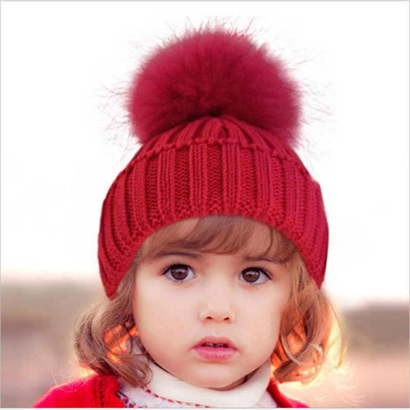 Russia Crochet Baby Hat 2017 Winter Baby Warm Clearance Costume Beanie Hats with Raccoon Fur Ball Pom Pom Knitted Cap Knitting