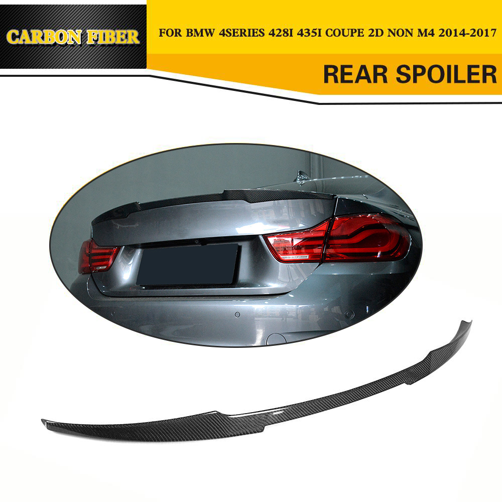 4 series Carbon Fiber Car Racing Spoiler Lip Wing For BMW F32 428i 435i Coupe 2 Door 2014 2015 2016 2017 MP style p style for bmw f32 spoiler carbon fiber material 4 series coupe f32 carbon spoiler 2 door carbon wings 2014 2015 2016 up
