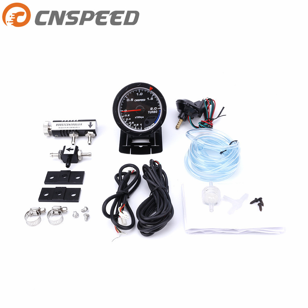 Free shipping CNSPEED 60MM Car Turbo Boost gauge + Adjustable Turbo Boost Controller Kit 1-30 PSI IN-CABIN Car Gauge/Car Meter cnspeed 52mm car evo digital turbo boost gauge psi meter sensor blue lcd turbo boost meter turbo pressure boost gauge ms101031