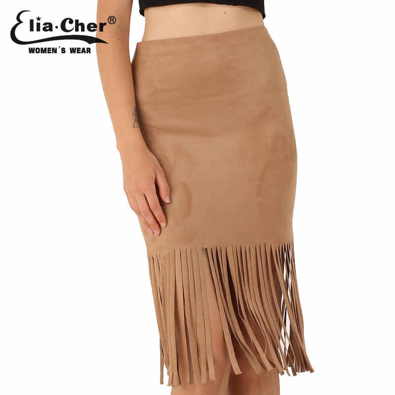 Faldas mujeres borla lápiz falda eliacher marca más tamaño casual ropa mujer  elegante sexy señora marrón 7b5925016f51