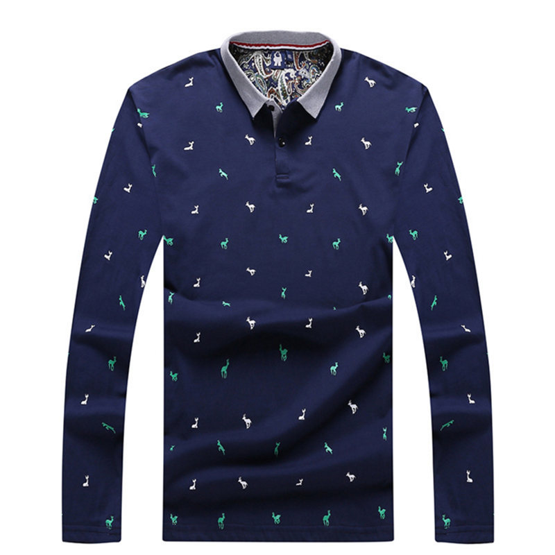 Men   Polo   Shirt Fashion Long Sleeve   Polos   Horse Printed Fat Male Shirts Para Hombre Tops Camisa Masculina Tees 7XL