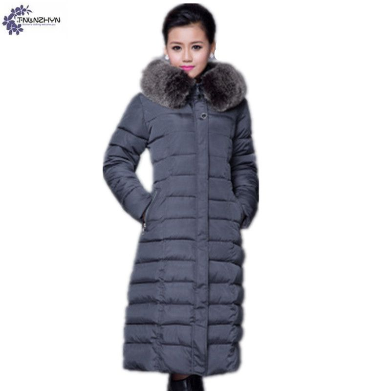 TNLNZHYN Women Middle age cotton Down jacket coat winter NEW fashion thicken warm fur collar large size Long female coat QQ35