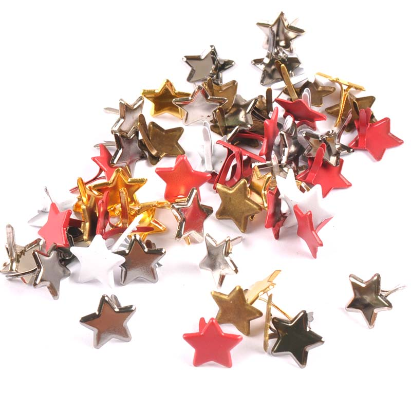 50PCs Mixed Pastel red Star Brad Scrapbooking Embellishment Fastener Brads Metal Crafts For diy shoes Decoration 13mm CP2108