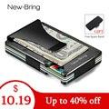 NewBring Metal Mini Money Clip Brand Fashion Black White Credit Card ID Holder With RFID Anti-thief Wallet Men