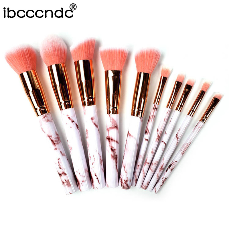 Makeup-Brushes-Set Foundation-Powder Eyelash Cosmetic Marble Eye-Shadow Beauty 10pcs/Set