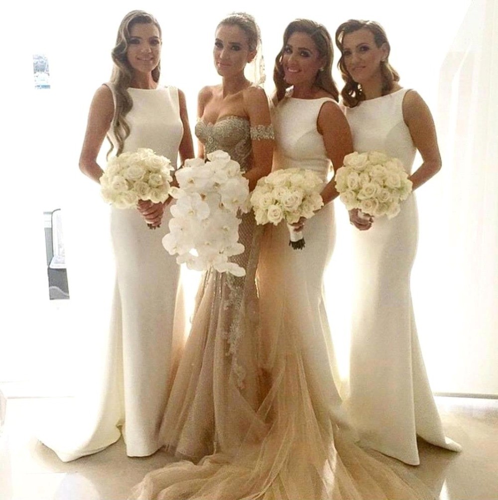 Sexy Satin Ivory Bridesmaid Gowns Peach Ivory Champagne Silver Coral Pink Red Mint Green Hot Bridesmaid