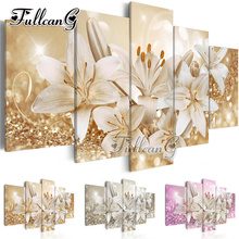 FULLCANG diy 5pcs diamond painting lily flowers full square rhinestone cross stitch mosaic embroidery home decor hobby G1131
