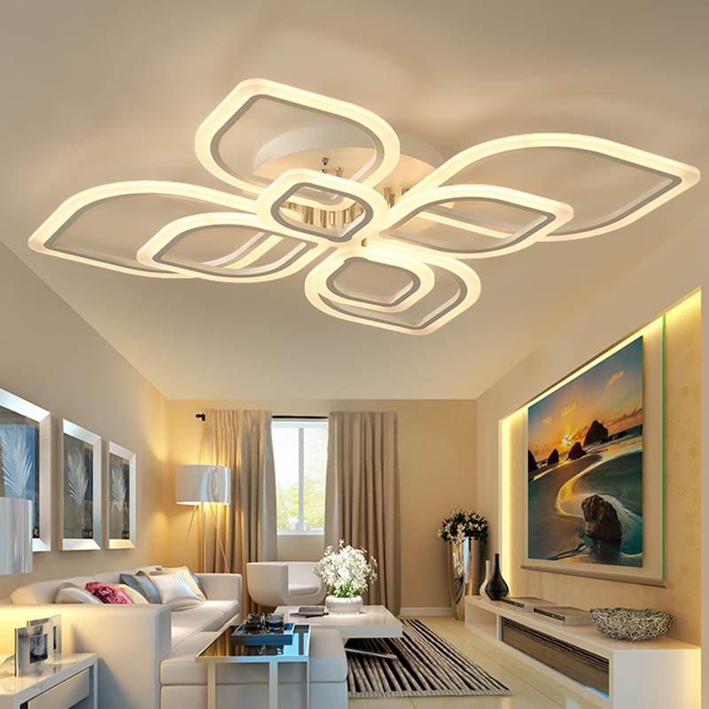 Modern Acrylic Led Ceiling Light Overlapping Frames Large
