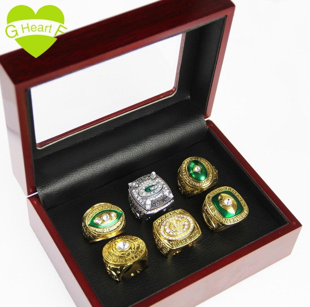 Green Bay Packers 6 teile/satz Kostenloser Versand Hohe Qualität 1961 1965 1966 1967 1996 2010 Championship Ring Set für Geschenk ring
