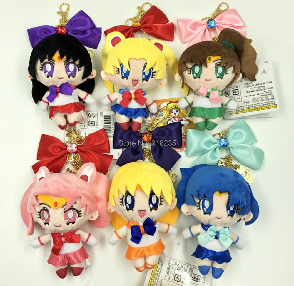 10 Lot 6 Styles 25th Anniversary Sailor Moon Mars Mercury Jupiter Venus Chibiusa 13CM Plush Keychain