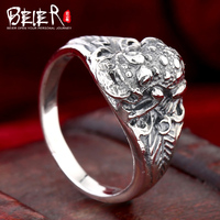 Beier 925 prata esterlina jóias 2015 homens novos do estilo Retro domineering anel animal anel D1202