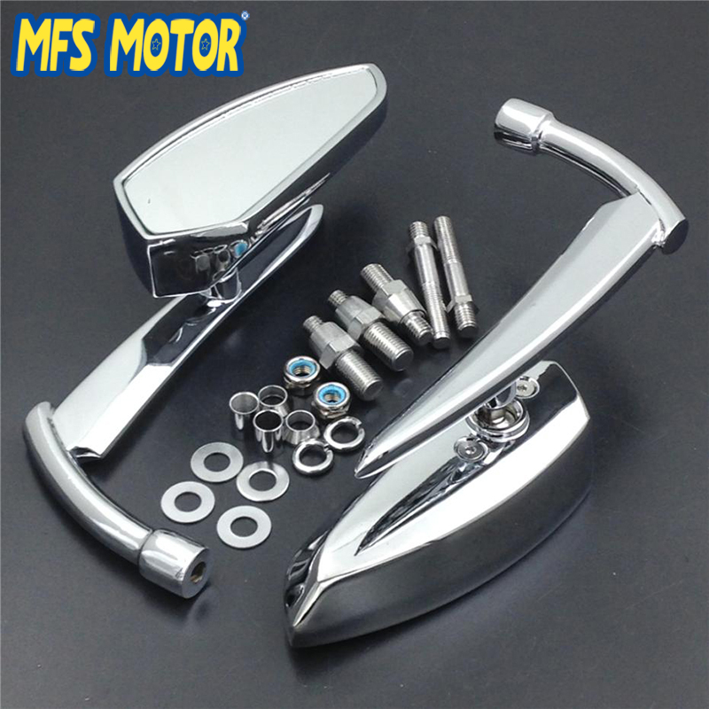 Spear Blade Universal Fit 8mm 10mm Thread Motorcycle Rearview Mirrors For Suzuki Intruder Volusia Boulevard All Cruiser Chrome universal 8mm thread round motorcycle rearview mirrors silver pair