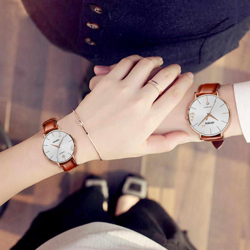 Mode Paar Horloge Lederen Band Horloges Gift Elegantie Luxe Merk Minnaar Quartz Horloge 2019 Nieuwe Quartz Klok