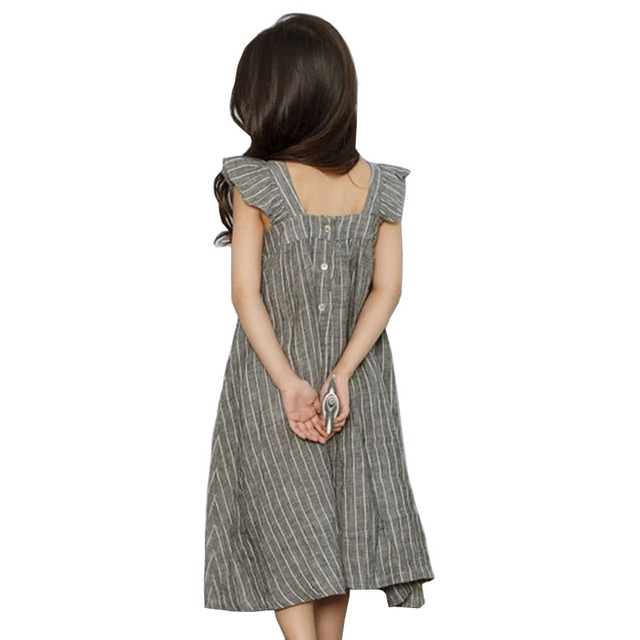 cotton linen ruffles korean kids clothes big children dresses girls new 2019 summer baby girls Teens dress stripe party frocks