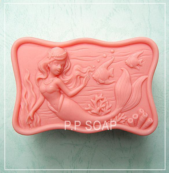 Molde del jabón del silicón de la sirena Hecho a mano 3d moldes de silicona DIY Craft moldes S116