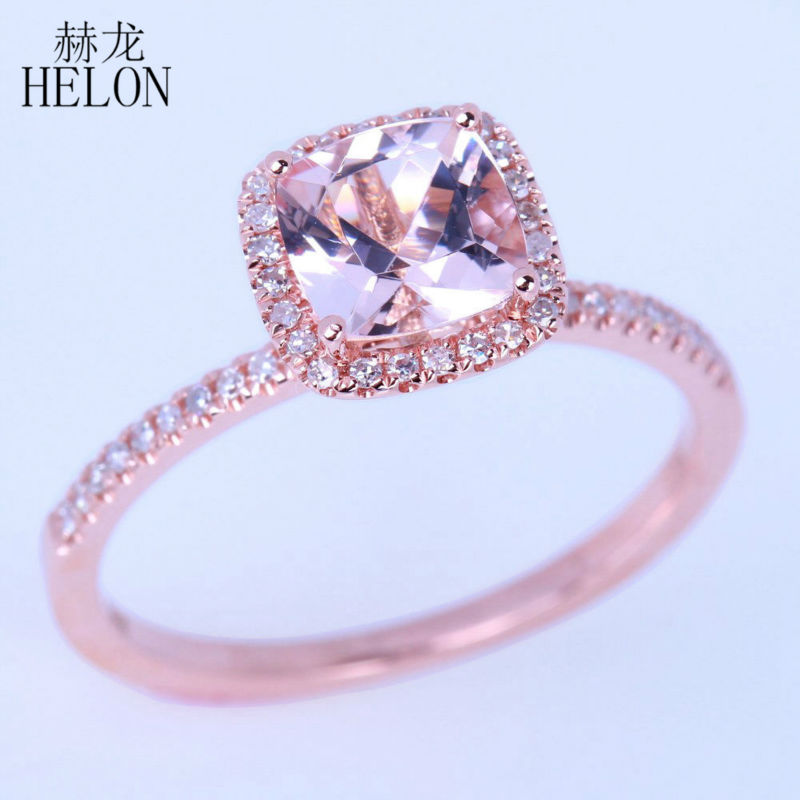Temperate Helon Solid 10k 417 Rose Gold Cushion 6mm Cut 0.9ct Morganite Pave Natural Diamonds Wedding Engagement Women Fine Jewelry Ring