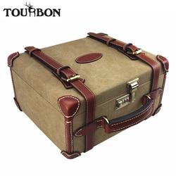 Tourbon Hunting Vintage Canvas Ammo Shells Storage Case Shooting Bullet Cartridges Ammunition Holder Carrier Shotgun Accessories