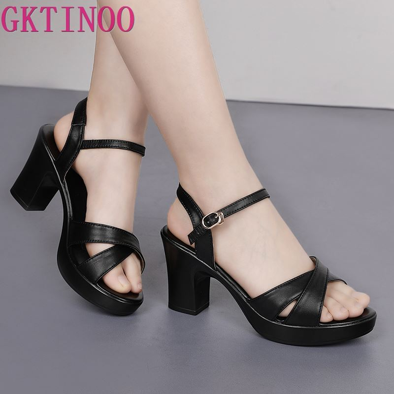 GKTINOO Women Sandals 2019 Summer New Genuine Leather Shoes Platform 8cm High Heels Women Fashion Casual Sandals