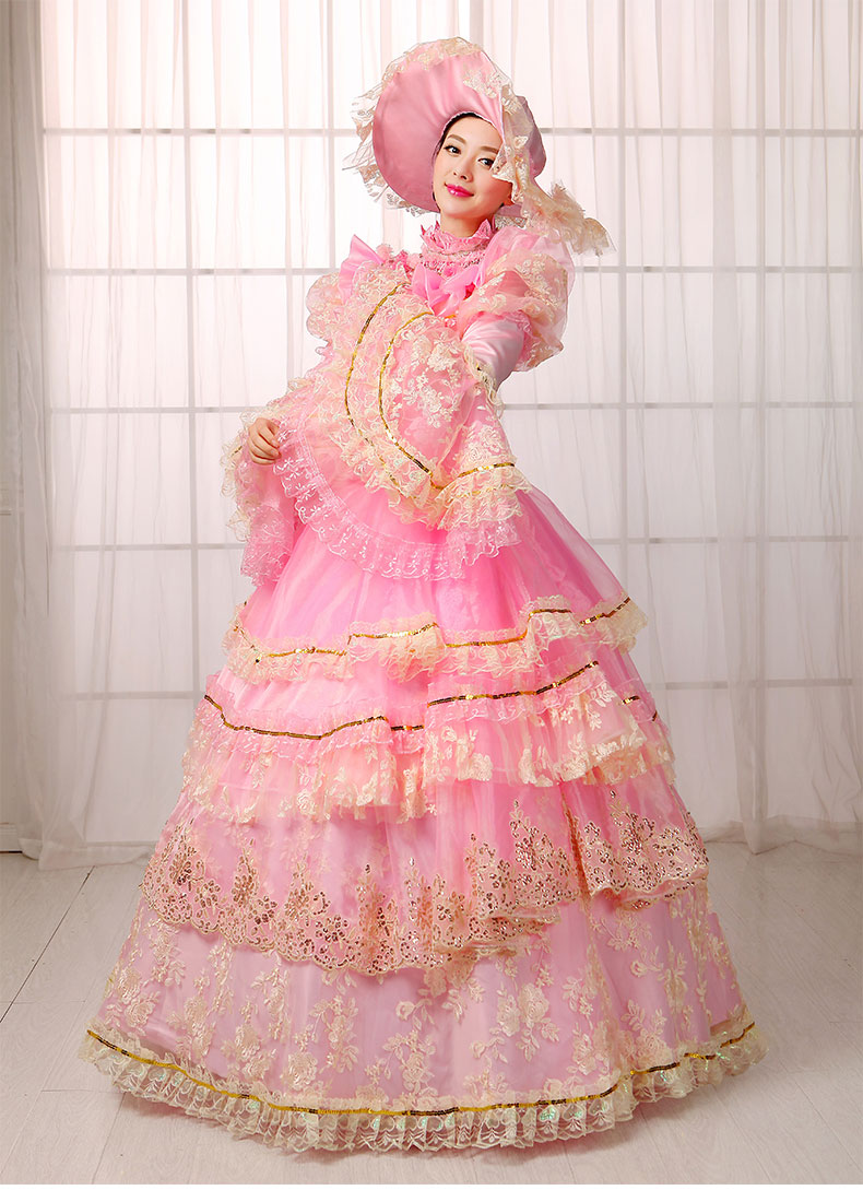 Christmas gown ideas 18th - 2016 European Court Dress Lace Dance 18th Century Queen Floral Print Renaissance Stage Costumes Make Up