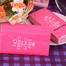 Inspirational Carry on napkin paper Red Blue Keep Calm Handy Pocket toilet tissue for event birthday party decoration supplies