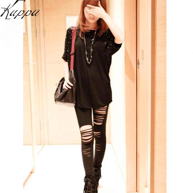 11ba48500b2290 Punk Style Women Fashion Ninth Pant Legging Cotton Torn Ripped Hole Design  Black Leggings Party Gothic
