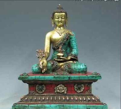 28cm*/ Tibet Pure Copper Bronze 24K Gold turquoise coral Sakyamuni Buddha Statue tibet buddhism copper bronze green tara guan yin boddhisattva buddha god statue