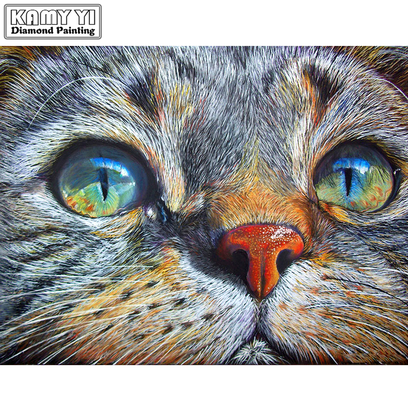"""Полный дрель квадратный алмаз 5D DIY алмазная живопись """"кошачье лицо"""" Алмазная вышивка крестиком горный хрусталь мозаичный Рисунок"""