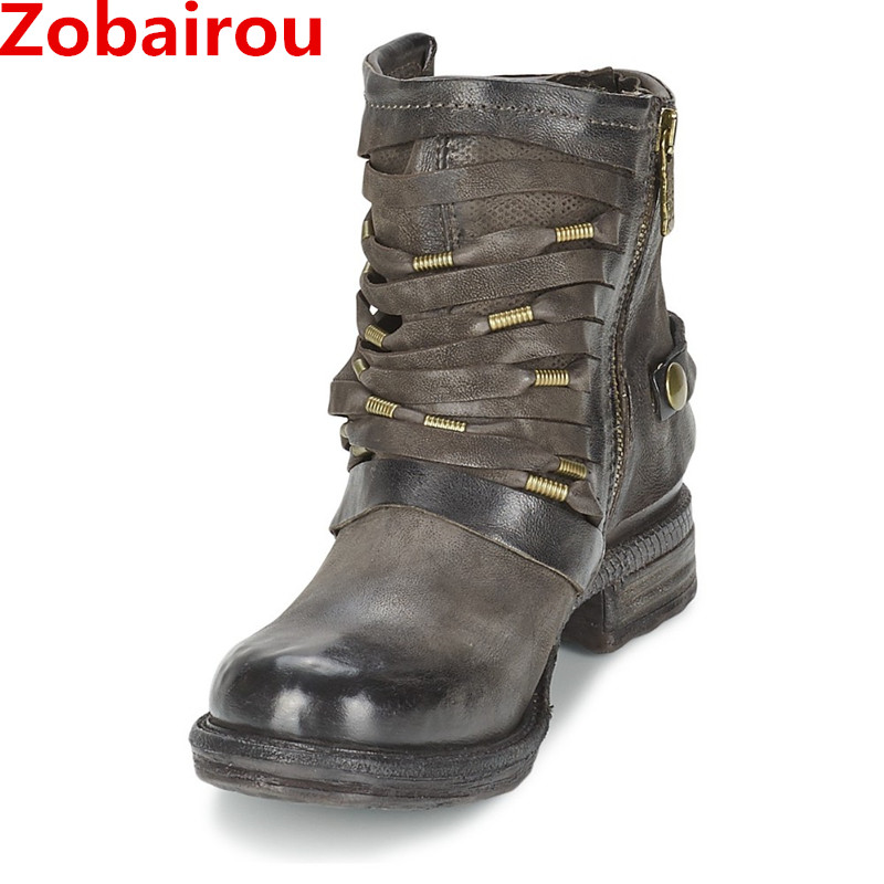 Zobairou Hot chaussure femme Ladies Motorcycle Rain Boots Combat Punk Ankle Shoes Women Biker Leather Cowboy Boots Stockings