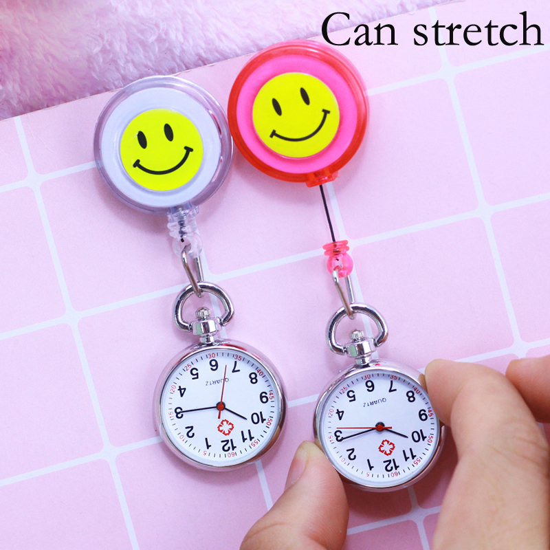Women Smiling Face Pocket Watch Pendant Doctors Nurses Cross Portable Quartz Fob Watches Can Stretch 60cm Students Supe Clock