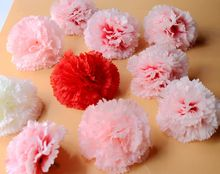 10pcs Artificial Silk Carnations Flower Head Party Wreath Wedding Kissing Ball Arches Wall Decoration Background